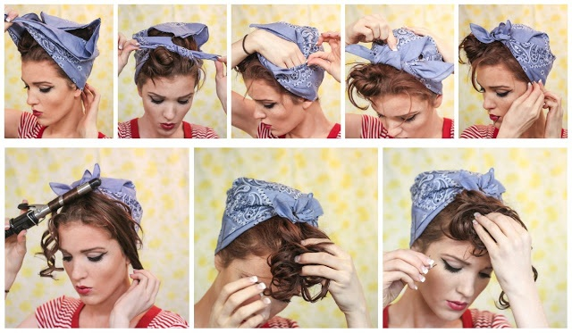 rosie the riveter hair style estilo pin up arisa suzuki 2061 | retro vintage rockabilly pin up hair style tutorial 40s 50s bandanna curls rosie the riveter christina agulera candyman curls 3 vert